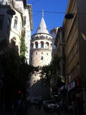Galata Tower from a little cobbled street