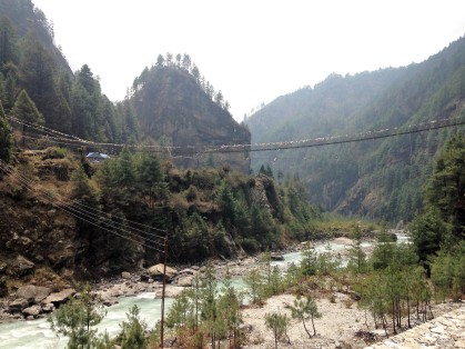 The famous swing bridge heading over to Namche Bazaar! I can't wait to get to this mountain village I've read so much about.
