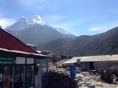 Stopping for lunch, oh with Ama Dablam as a backdrop :)