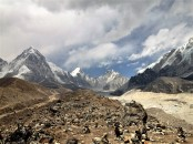 Looking over the memorial for many who have lost their lives trying to reach the summit of Everest