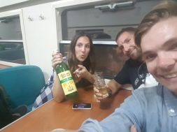 Drinks on the train.
