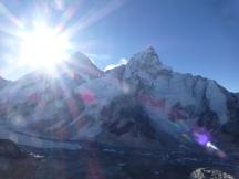 Sunrise over Everest as I hike the steep hike to Kala Patar
