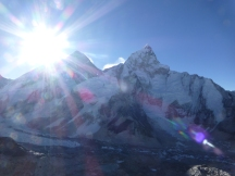 Sunrise over Everest as I hike the steep hike to Kala Patar